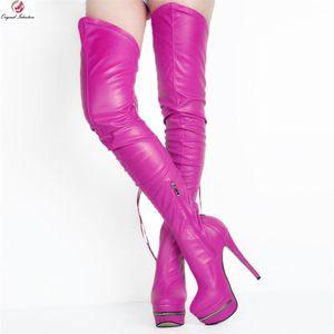 Cuoio sexy donne alta della coscia stivali Faux scarpe col tacco alto piattaforma Stivali Indietro chiusura lampo della biforcazione Botines Mujer grande formato 34-52