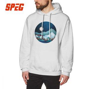 Moon Bay Hoodies Männer Graphic Hoodie-Hemd Nachtbäume Wald Berge Natur aus 100% Baumwolle Design T-Shirt