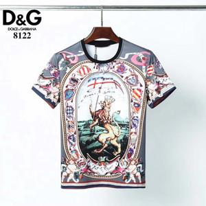 폭발 스타일 D # G 여름 남성 디자이너 T 셔츠 패션 남자 짧은 소매 라이온 킹 고품질의 코튼 T 셔츠 3 색 크기 M-3XL