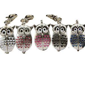 Owl Charm Unisex Fashion Roman Number Quartz Pocket Keychain Watch Party Favor and Gift Wholesale ZC2919