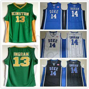NCAA Kinston High School #13 Brandon Ingram Green Basketball Jersey Stitched Duke Blue Devils Brandon 14 Ingram College Jerseys Shirts