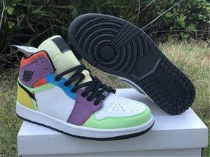 Nouvelle version authentique Air1 Mid Multicolor chaussures de basket-ball 1 Mid SE CW1140-100 des femmes des hommes en plein air Sport Trainer US 4-13