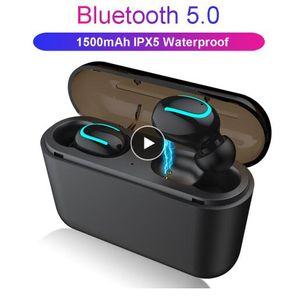 무료 배송 블루투스 5.0 이어폰 TWS 무선 헤드폰 Blutooth 이어폰 핸즈프리 헤드폰 스포츠 이어 버드 게임 헤드셋 전화 PK H