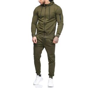 Automne 2018 Fitness Set hommes Vêtements de sport Survêtements Homme culturisme Sweats à capuche Sets de mode Pantalons simple Costumes Outwear Dropshipping
