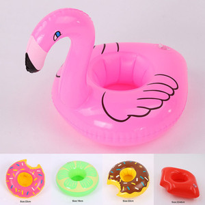 Inflatable Flamingo Drinks Cup Holder Flamingo Donut Watermelon Lip Pools Floating Toys Party Bath drinking cup Seat Boat Summer drop ship