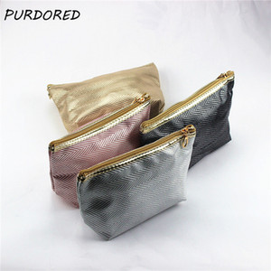 PURDORED 1 pc Solid Cosmetic Bag Flash Women Makeup Organizer PU Travel Toiletry Bag Makeup Pouch necessarie Dropshipping