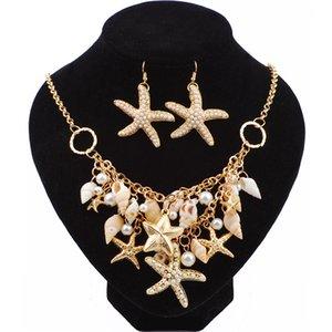Doğal Taze Yaz Plaj Denizyıldızı Kabuklu Kolye Takı Deniz İnci Denizyıldızı Shell Çift Kolye Küpe Takı Seti