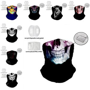 DHL shipping Magic Cycling Scarf Mask Replaceable filter Outdoor Headscarf Sport Wind 3D Digital Skull Balaclavas Turban Party Mask L183FA