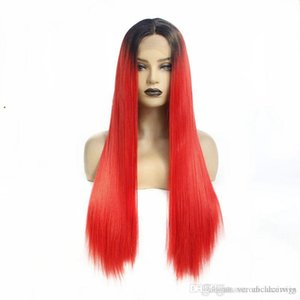 Middle Parting Long Hair Silky Straight Ombre Red Lace Front Wig Heat Resistant Synthetic Wigs For Women