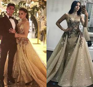Гламурные вечерние платья с блестками и русалкой и съемным шлейфом Abric Dubai Вечерние платья Блестящие ткани Вечернее платье