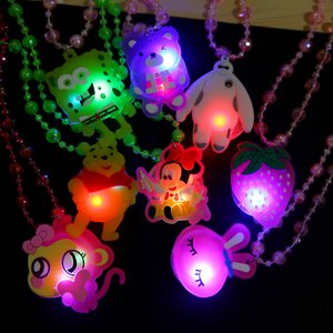Cute Cartoon LED Beads Luminous Necklace 38cm Niños Collar Fiesta Chrismas Halloween Supplies Kids Gift L309