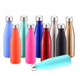 زجاجات 500ML كولا على شكل زجاجة مياه فراغ زجاجة معزول سفر المياه الفولاذ المقاوم للصدأ الكوك الشكل في الهواء الطلق المياه CCA11923 واحد 30PCS