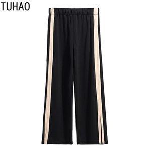 TUHAO Plus Size 6XL 5XL 4XL 3XL Summer Pants Women 2020 Summer High Waist Wide Leg Pants mother Large Size Women Trousers WM18