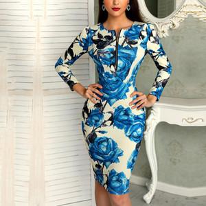 Vêtements pour femmes Designer Robes Femmes travail Automne Bureau Polyester affaires à fleurs avec ceinture Robe crayon avant gaine robe moulante Midi