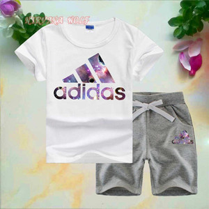 ADlDAS Abiti firmati per bambina neonata T-shirt O-collo Pantaloni corti 2 pezzi / set Ragazzi Ragazze Puro cotone Set estivi per bambini