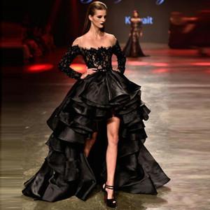 Charmoso Preto Vestidos de Baile 2019 New Frisada Lace Organza Manga Longa de Alta Baixa Sheer Neck Ruffles Em Camadas Formal Evening Prom Vestidos A161
