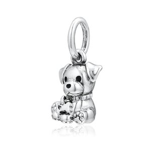 New autêntica jóia de 925 Sterling Prata Charme filhote de cachorro esmalte preto Labrador com osso Pendant Bead Fit Marca Charm Bracelet Bangle Diy