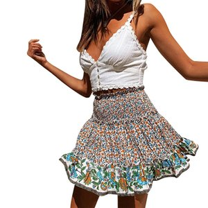 Casual polka flower ruffle summer skirt women A line high waist pleated short skirt Floral print chiffon beach