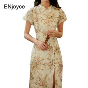 2020 Sommer-Blumen Split Lange Cheongsams Qipao Mädchen-Kleid-moderne kreative Design Frauen chinesische Kleidung