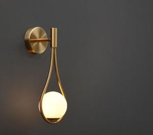 الشمال الذهبية قطرات الجدار مصباح الزجاج الأبيض عاكس الضوء فاخر غرفة النوم الجدار الشمعدان بجانب بار الممر الجدار الخفيفة الإضاءة MYY