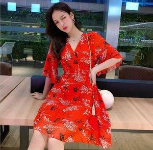 abito floreale versione femminile coreana delle maniche tromba scollo a V con una vita e abito di chiffon piccola leggiadramente eccellente