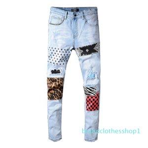 19SS Brand Mens Jeans Distressed Ripped Biker Designer Jeans Slim Fit Motorcycle Denim Jeans 2019 Luxury Designer Pants B100803K