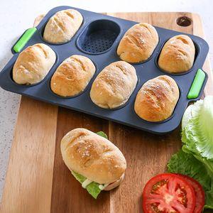 Non-Stick Bread Mold Partido DIY Mini Baguette Baking Tray Silicone Redonda Baker Baking Ferramenta Baguette Pan Diy torradas de pão Frigideiras Pratos Bandeja