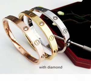 LOVE Charm Bracelets Rose Gold 316L Stainless Steel Screw Bangle Bracelet with Screwdriver Stone Fashion Classics Designer Jewelry with Box
