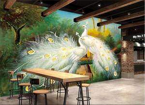 Пользовательские 3D Mural Обои Красивый белый павлин Лесной пейзаж Картина Fresco Гостиная Ресторан Спальня Art Wallpaper