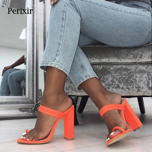 Women 2019 New Summer Sandals Slippers Thin High Heels Sandals Flip Flop Buckle Hollow Women Shoes Hollow Slippers Sexy Slides