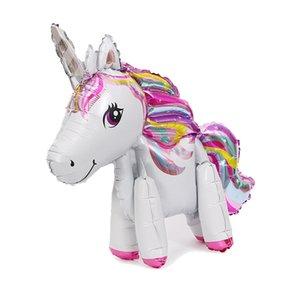 1pc Folyo Balonlar Pembe Hava Ballon Unicorn Doğum Parti Süsleri Çocuk Hatıra Bebek göster Hava Balonlar Diğer Olay Parti Sup Standı