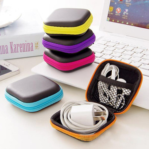 Caso Headphone 1PC portátil Praça Mini Zipper Hard Carrying Titular duro saco para Key Coin Purse Carteira Earbuds Bolsa Box