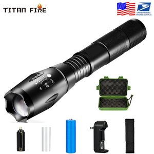 8000 LM Led flashlight Ultra Bright torch T6 Camping light 5 switch Modes Zoomable USB Bicycle Light use 18650 battery