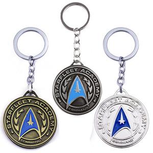 Film Star Trek Porte-clés Star Fleet Logo Pendentif rond en alliage Pendentif Porte-clés Film Star Trek Bouclier Bronze antique Plaqué Académie Insigne Porte-clés