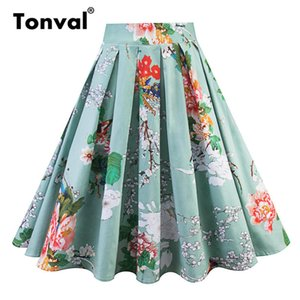 Tonval Coton Rétro Imprimé Floral Jupe Plissée Taille Haute Vert Jupes D'été Femmes Midi Élégant Rétro Vintage Jupe Y19043002