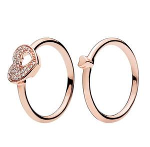 Pan-dora için 18K Rose gold Pırıltılı Bulmaca Kalp Çerçeve Halka Orijinal Kutusu 925 Gümüş Kadınlar erkekler Çift Alyans Set W169