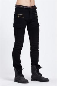 Mens Designer Brand Black Jeans 2019 Spring Summer Skinny Ripped Destroyed Stretch Slim Fit Hop Hop Pleated Pants