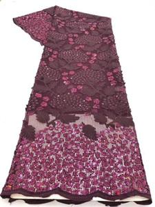 New Nigerian Lace Fabric 2020 Latest alta qualidade Sequins tela do laço bordado Tulle Sequins Africano