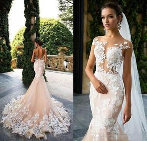 Milla Nova 2019 Cap Sleeve Mermaid Wedding Dresses Sheer Neck Lace Appliques Illusion Bodices Bridal Gowns Wedding Gowns Vestios De Novia CF