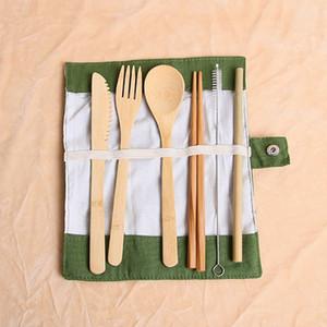 21 أساليب المحمولة أدوات المائدة مجموعة السفر في الهواء الطلق الخيزران أطباق مجموعة سكين ملعقة عيدان شوكة ملعقة المائدة مجموعات 7PCS / SET XD20311