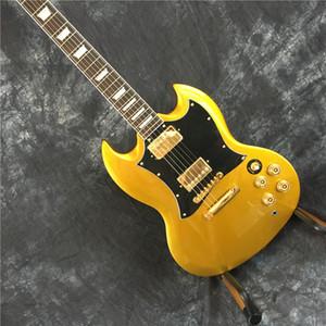 Yüksek kaliteli elektrik gitar, Sg elektro gitar, altın sarısı. Altın donanım, elektrikli gitar özelleştirilmiş. ücretsiz kargo