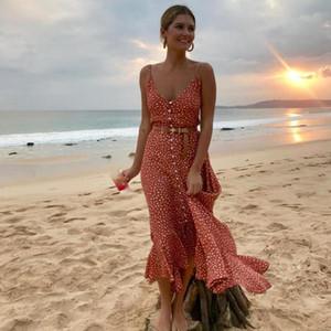 Meihuida 2020 Kadın Boho Maxi Elbise Kızlar Yaz Spagetti Askı Tatlı Nokta Uzun Elbise Ladies Beach Sundress Vestido De Mujer