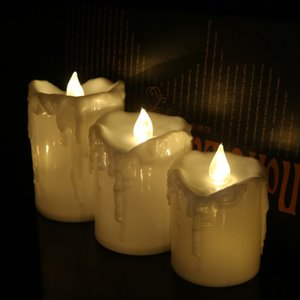 Set 3pcs LED Taper Candle Pillar Tea Light Candle Church Home Wedding Decor