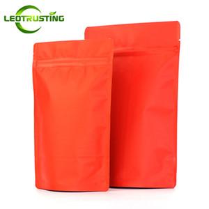 Leotrusting 50 pz / lotto rosso opaco foglio di alluminio a chiusura lampo borsa stand up rosso anti-ossigeno sacchetto della chiusura lampo doypack sacchetto di imballaggio di stagnola regalo