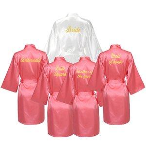 YUXINBRIDAL Coral Hot Stamping Gown Satin Silk Bride Robe Wedding Robe Bride Bridesmaid Dressing Gown Bridesmaid Robes Satin