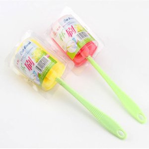 New Simple Durable Long Handle Sponge Cleaning Brush Kitchen Supplies Glass Cup Cleaning Tools Free Shipping