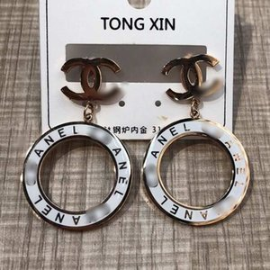 2020 Top Quality preto e branco oco pingente anel Ear Studs alta polido clássico do estilo de aço inoxidável brincos para Mulheres Jóias