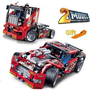 608 قطع سباق شاحنة سيارة 2 في 1 التحويلية نموذج بنة مجموعات decool 3360 diy لعب متوافق مع تكنيك 42041 J190722
