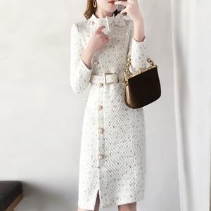 2019 Spring New Woolen Dress Women Fashion Autumn Wool Tweed Dresses Women Elegante Side Split con cintura Vestidos Robes femminili