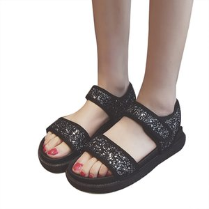 SAGACE Woman Shoes Sandals Noble Cute Sequins Rubber Round Toe Mid Heel Gold Casual Loose Dignified Sandals Women Summer Shoes